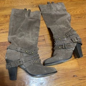 Heeled studded boot